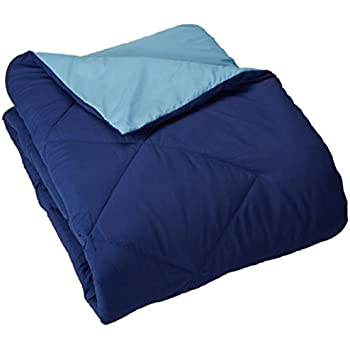 "AmazonBasics Reversible Microfiber Comforter - King (102""x90"") - Navy Blue"