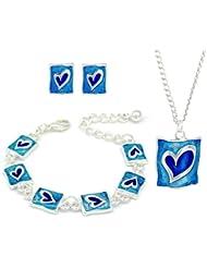 Niños/niños azul Juego de pendientes de tuerca esmalte con forma de corazón y pulseras y collares juego - Juego de regalo para niñas