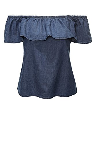 Vero Moda Vmemilia SL Chambray Frill Top, Débardeur Femme Bleu (Medium Blue Denim)