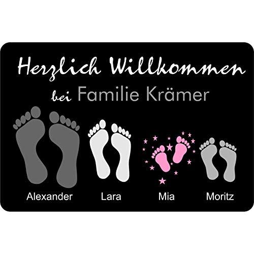 Fußmatte Füße | Pfoten mit Vornamen & Familien - Namen schwarz | Geschenk | Hund | Katze | Umzug | personalisiert | Fußabdruck