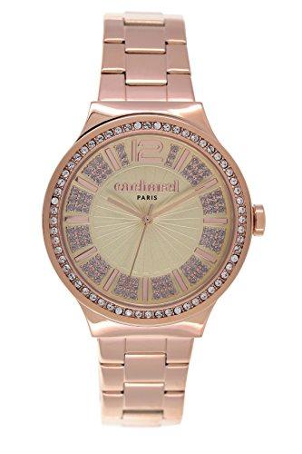 cacharel-cld-038s-2em-montre-femme-quartz-analogique-cadran-jaune-bracelet-acier-plaque-rose