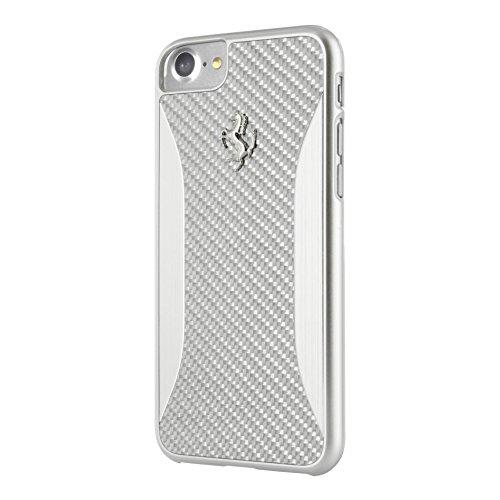 Ferrari FERCHCP7SI Hart Schutzhülle für Apple iPhone 7, Carbon Fiber Gebürstetes Aluminium silber silber