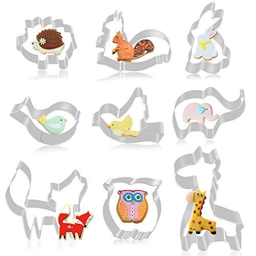 FHzytg 9 Stück Wald Tier Ausstecher Set Fondant Brot Ausstechformen für Kinder, Igel, Kaninchen, Eichhörnchen, Taube, Eule, Vogel, Giraffe, Elefant, Fuchs Keksausstecher(Animal Set)
