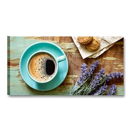 Café Vintage Rural–cuadro moderno 90x 45cm Impresión cuadros modernos Flores Lavanda Coffee Shabby Chic Muebles Cocina Bar Gelateria Pastelería Pizzeria