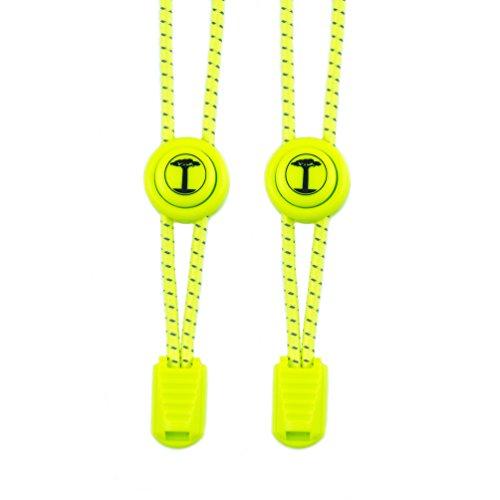 Funny Tree® Speed-Locks. Elastische Schnürsenkel mit Schnellverschluss. Reflektierende Gummi-Schuh-Bänder | Optimaler Komfort und Druckverteilung | Hohe Sicherheit | Schnellschnürsystem | Lock Laces (neongelb)