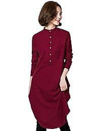 GladThink Mujer malasio Talla grande Manga larga Camisa larga musulmana