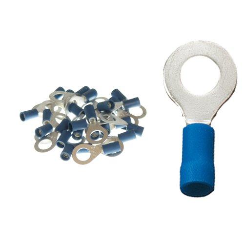 25 isolierte Ringkabelschuhe M8 blau 1,5 - 2,5qmm