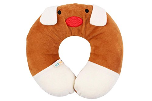Ole Baby Dog Face Children'S Neck Support Pillow, Soft And Plush,Brown 0-12 Months