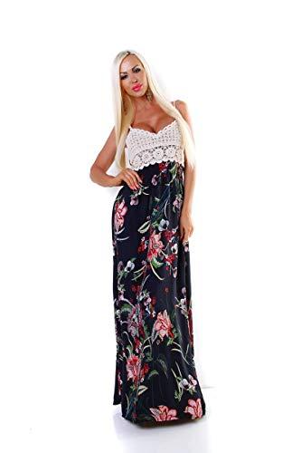 OSAB-Fashion 5535 Damen Maxikleid Sommerkleid Gesmokt Häkeltop Langes Kleid Geblümt Blumen -