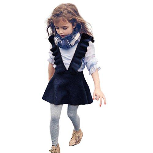 Odejoy Herbst Kleinkind Mädchen Kinder Baby Solide Farbe Stricken Sweatshirt Ärmellos Rüsche Kleid Kleider Fett Pilz Hosenträger Lotusblätter Falten- Rock definiert Taille gestrickt Kleid (4, navy)