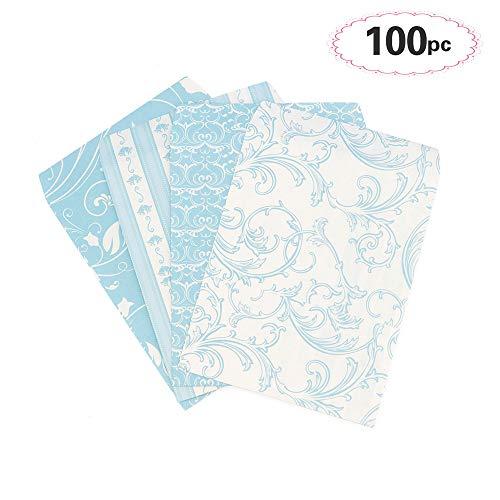 Sinoest 100 Candy-Bar Tüten Papiertüten Süßigkeiten Tüten für Ostern Hochzeit Zubehör Kindergeburtstag 4 Designs mit je 25 Geschenktüten (Blau)