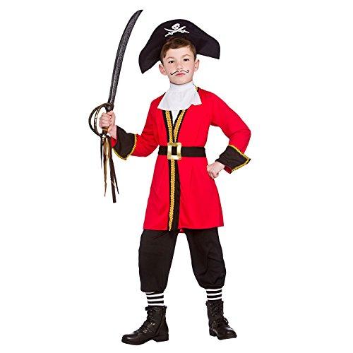 capitaine pirate enfant, couleur: Noir, Rouge, Costume de déguisement Halloween costumes enfants - 134-146cm