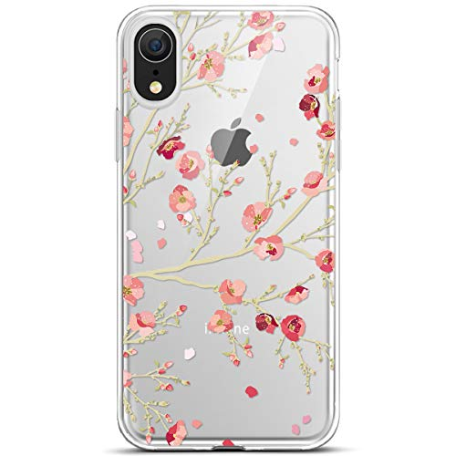 kompatibel mit iPhone XR Hülle,JAWSEU für iPhone XR Silikon Hülle Bunte Gemalt Muster Transparent TPU Silikon Schutzhülle Case Handytasche TPU Bumper Case Etui für iPhone XR,Rose Blumen