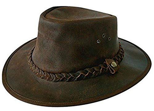 Cotswold Country Hats Explorer Braun Leder Bush Hat vom Small, Medium, Large, XL, XXL, XXXL Gr. 59 cm L, braun - Cotswold Leder