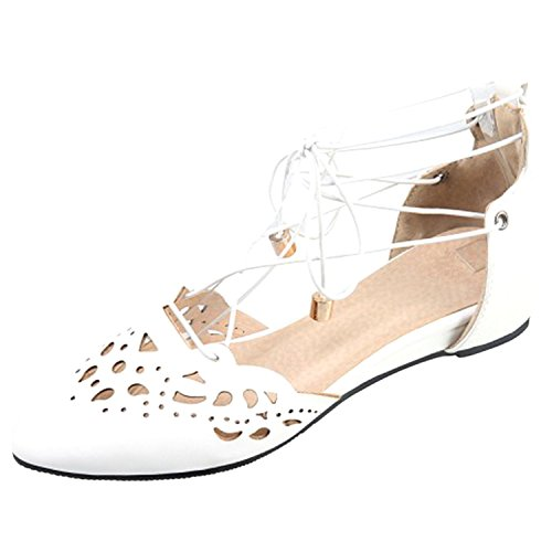 Oasap Women's Pointed Toe Ankle Lace-up Flat Sandals white
