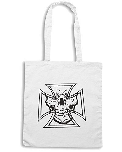 T-Shirtshock - Borsa Shopping TB0070 skull cross Bianco