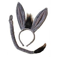 Islander Fashions Lion & Donkey Ears Alice Headband with Tail Fancy Hen night Party Accessory Donkey Ears Headband One Size