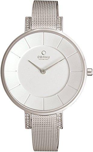 Obaku Denmark V158LECIMC - Reloj de pulsera mujer, revestimiento de acero inoxidable, color plateado