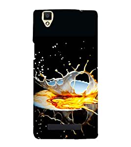 Splashing Liquid Artistic PIC 3D Hard Polycarbonate Designer Back Case Cover for Oppo F1