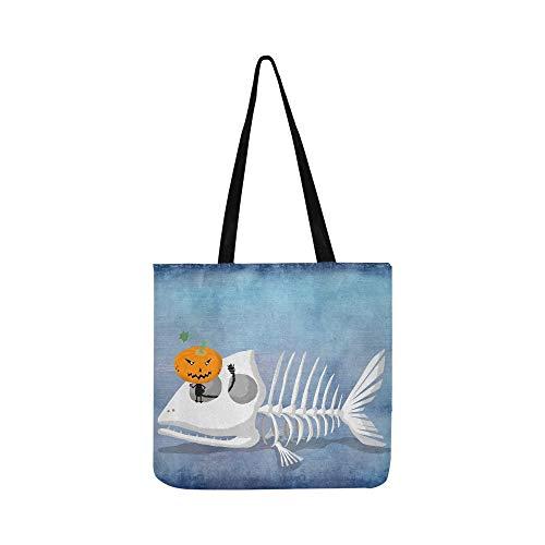 Sardine Fisch Skelett Form Der Fische Leinwand Tote Handtasche Umhängetasche Crossbody Taschen Geldbörsen Für Männer Und Frauen Einkaufstasche