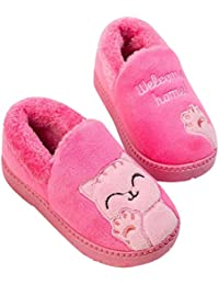Zapatillas de Estar por casa Gato para niña niño Pantuflas Invierno Interior Suave Casa Caliente Zapatos Antideslizantes Peluche de Animales