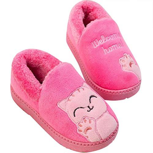 Mädchen Jungen Plüsch Baumwolle Hausschuhe Winter Warme Gefüttert weiche Pantoffeln mit Cartoon Katze Rutschfeste Slippers Hause Indoor für Kinder -Rose Rot - 30 EU/ CN 33