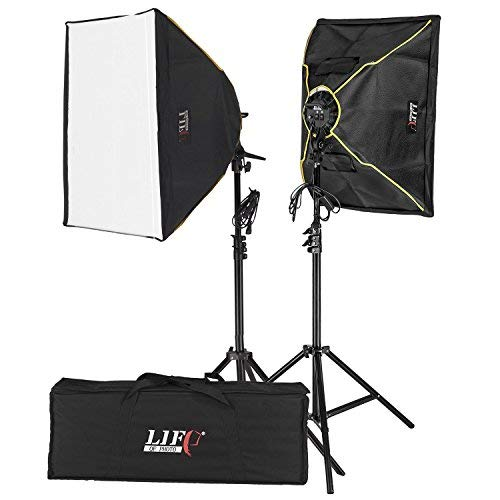Life of Photo Fotostudio Softbox Set Fotolicht Studioleuchte 1200W mit 2er Softboen 8x Fotolampe
