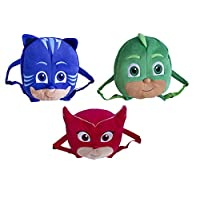 Official Licensed Kids 3 Large PJ Masks Plush Backpack Red Blue Green Owelette Gekko Catboy 34cm Set of 3