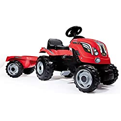 Smoby - 710108 - Tracteur Farmer XL + Remorque - Capot Ouvrable - Rouge