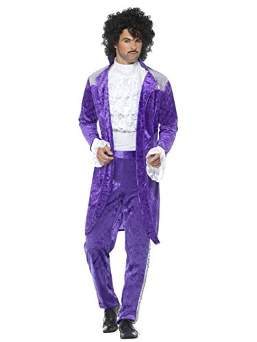 """Smiffy's Smiffys-48004XL  Disfraz de Músico Púrpura años 80, con Chaqueta, Camisa figurada y Pant, Color, XL - Tamaño 46""""-48"""" 48004XL"""