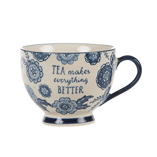 Sass & Belle - Taza con diseño Floral Vintage Tea Make Everything Better, Sauce Azul