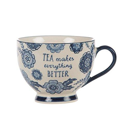 Sass & Belle - Taza con diseño Floral Vintage Tea Make Everything Better, Sauce Azul
