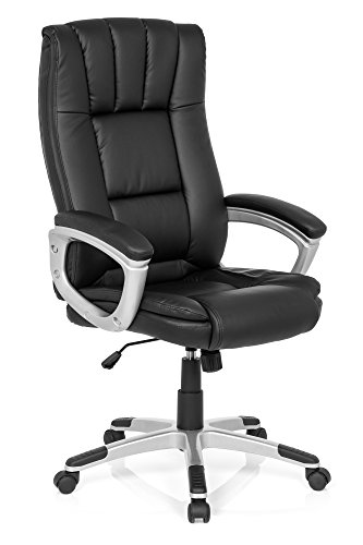 Leder Computer Schreibtisch Stuhl (Bürostuhl RELAX CL150 Kunst-Leder Schwarz ergonomischer Chefsessel mit Armlehnen X-XL Schreibtisch-Stuhl Büro-Drehstuhl Hohe Rücken-Lehne MyBuero 725009)