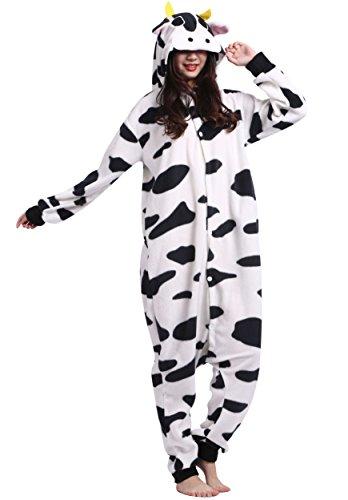 Unisexe-Adulte-Animal-Cosplay-Kigurumi-Pyjama-pour-taille-160-175-cm-Vache