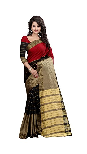 The Fashion Outlets Women's Cotton Silk Zari Jacquard Sarees(Free Size_Beige)