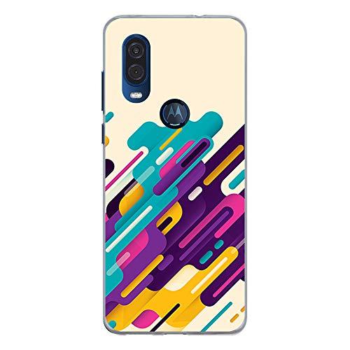 BJJ SHOP Transparent Hülle für [ Motorola One Vision ], Klar Flexible Silikonhülle, Design: Multicolor Pastell Streifen abstrakt -