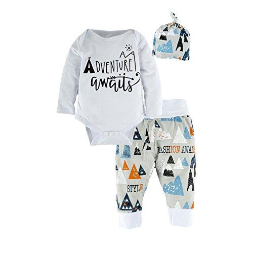 BIG ELEPHANT 3 Stück Baby Jungen Bodysuit Langarm Top Hosen Kleidung Set mit Hut O40