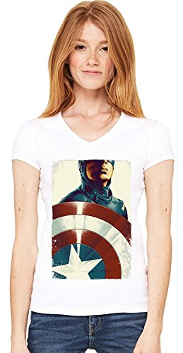 Captain America With Shield Damen V-Ausschnitt T-Shirt XX-Large - Shield Drip