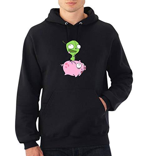 Invader Zim Pig Year_A0155 Fan Art Hoodie Sweater Kapuzenpullover Sweatshirt Pullover Funny Christmas MD Black (Invader Zim Hoodie)