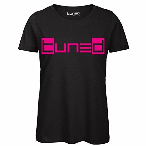 CHEMAGLIETTE! Maglietta Maniche Corte Donna T-Shirt 100% Cotone Organico con Stampa Fluo Tuned Nero/Fucsia