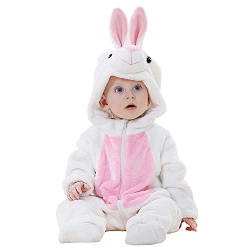 GWELL Kinder Baby Tier Kostüme Tieroutfit Cosplay Jumpsuit Schlafanzug Mädchen Jungen Winter Nachtwäsche Strampler Hase Körpergröße ()