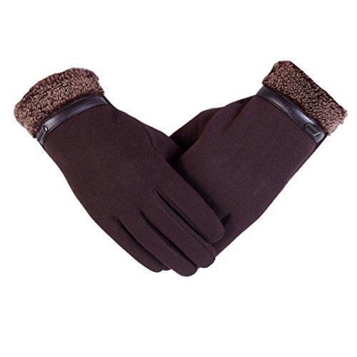 Saingace® Gants Hommes,hommes thermiques automne hiver gants écran tactile moto neige de ski de snowboard chaudes Café1