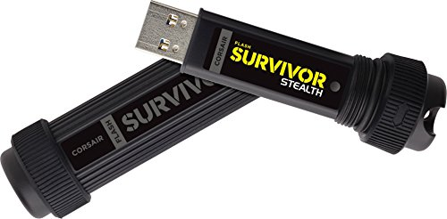 Corsair Flash Survivor Stealth v2 - Unidad de Memoria Flash USB 3.0 de 64 GB (diseño Robusto, Resistente al Agua), Negro (CMFSS3B-64GB)