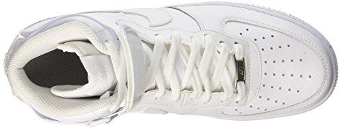 Nike Air Force 1 High '07, Chaussures de Sport-Basketball Homme, Bleu Blanc Cassé - Blanco (White / White)