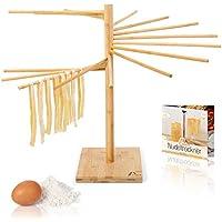 Amazy Secador de Pasta de Bambú + ePaper gratuito con recetas y consejos de uso   100% natural - Soporte de pasta antideslizante y resistente para el secado casero de pasta