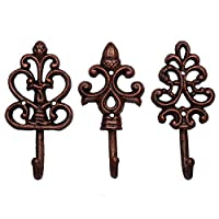 Shabby Chic Cast Iron Decorative Wall Hooks - Rustic - Cooper - Antique - French Country Charm - Large Decorative Hanging Hooks - Set of 3 - Screws and Anchors for Mounting Included