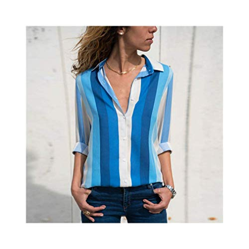 Women Fashion Long Sleeve Turn Down Collar Office Chiffon Blouse Shirt Tops
