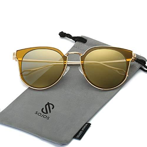 SOJOS Schick Klassische Retro Rund UV Schützen Polarisiert Sonnenbrille für Damen und Herren SJ1057 mit Gold Rahmen/Gold Linse