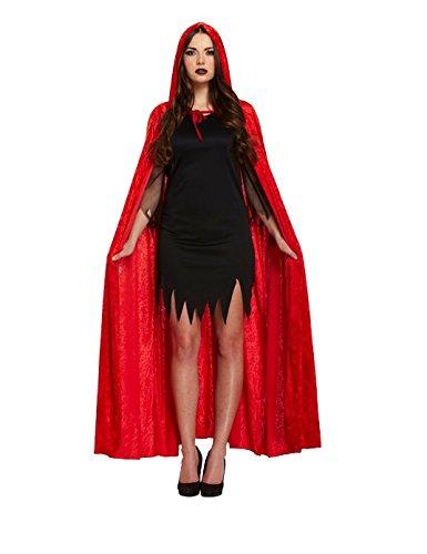 Henbrandt - Erwachsenen Teufel Umhang Samt Rot Halloween Verkleidung (Rote Teufel Kostüm Halloween)