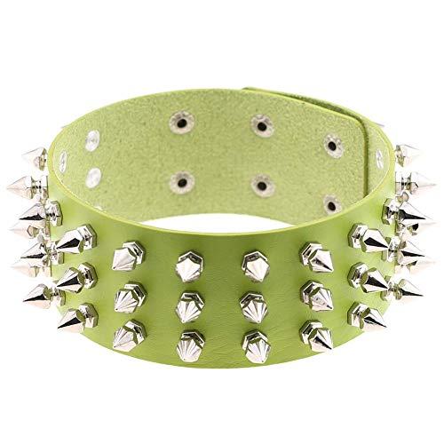 Brillenschnurketten Übertrieben Kragen Halskette Punk Retro dreireihig verjüngt Niet Choker Leder Halskette Halskette Brillenband Kettenhalter (Farbe : Grün)